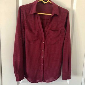 Burgandy  Micro Plaid Button-Up Shirt
